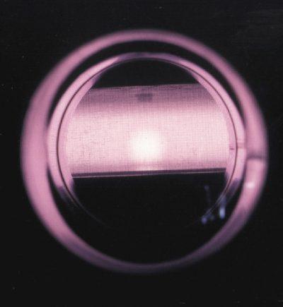 Argon plasma seen through the reactor window
